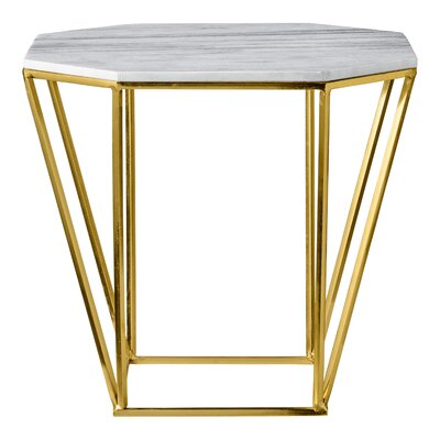 Octagon End Table Finish: Gold/White