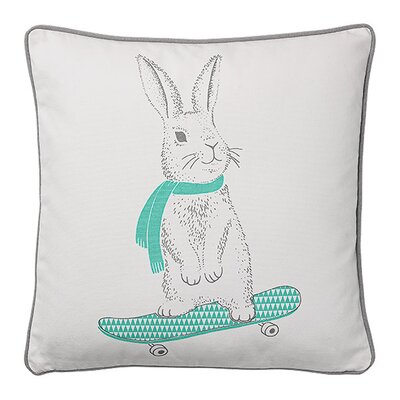 Carson Rabbit on Skateboard Cotton Throw Pillow