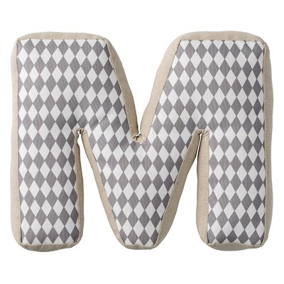 M with Pattern Cotton Throw Pillow