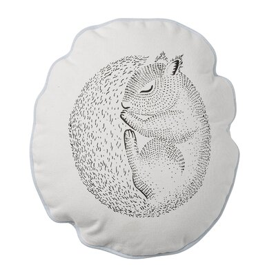 Sleeping Squirrel Cotton Throw Pillow