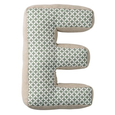 E with Pattern Cotton Throw Pillow