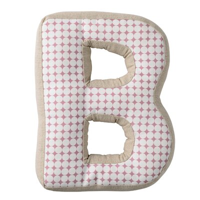 B with Pattern Cotton Throw Pillow