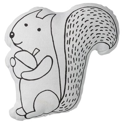 Aron Squirrel with Acorn Cotton Throw Pillow