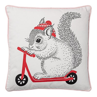 Adan Squirrel on Scooter Cotton Throw Pillow