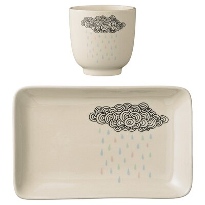 Bloomingville Ceramic Rain Cloud 2 Piece Appetizer Plate Set A21100638