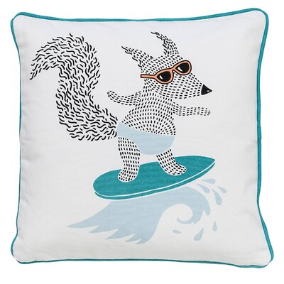 Surfing Animal Cotton Throw Pillow