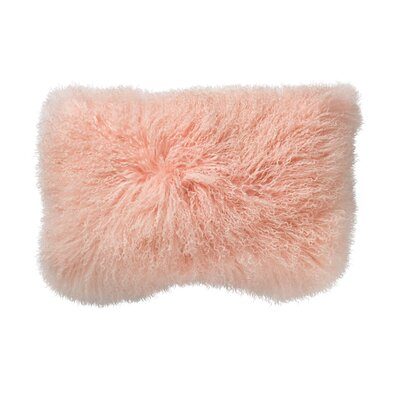 Moris Mongolian Lamb Fur Throw Pillow Color: Pink