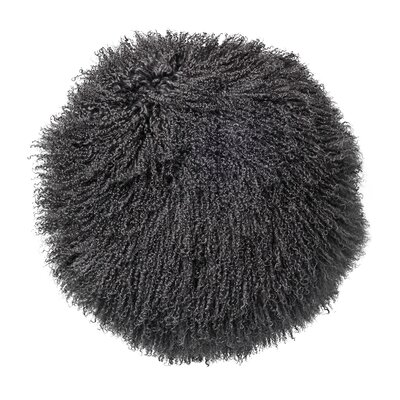 Hohman Mongolian Lamb Faux Fur Throw Pillow Color: Dark Gray