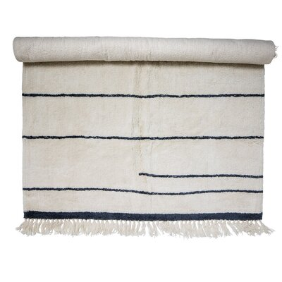 Wool White/Blue Area Rug