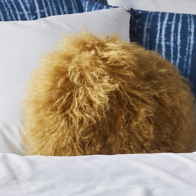 Tibetan Lamb Fur Throw Pillow Color: Mustard