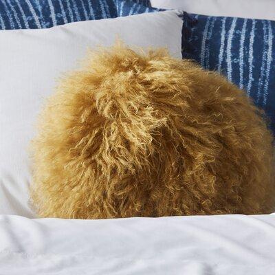 Bessler Tibetan Lamb Fur Throw Pillow Color: Mustard