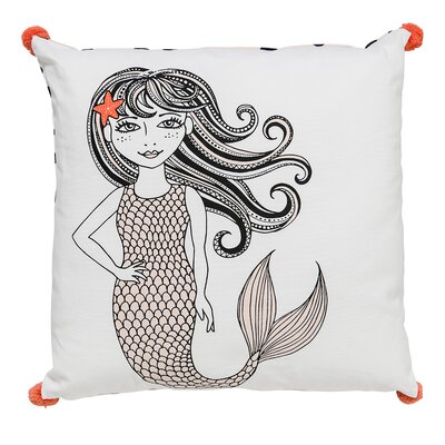 Square Mermaid Cotton Throw Pillow