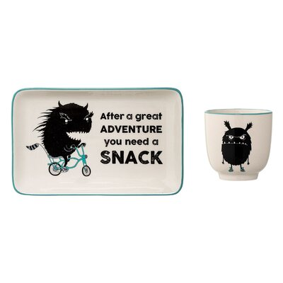 2-Piece Monster Ceramic Appetizer Plate Set A21106389