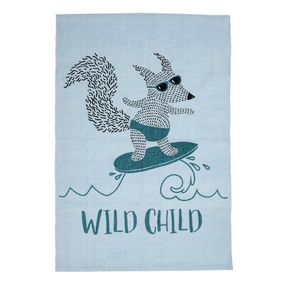 Cotton Animal Blue Kids Rug