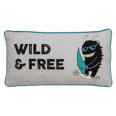 Wild and Free Monster Cotton Throw Pillow