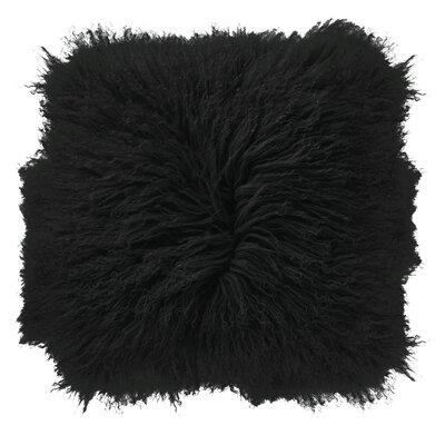 Borealis Lamb Fur Throw Pillow Color: Black