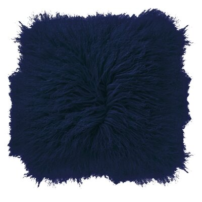 Borealis Lamb Fur Throw Pillow Color: Navy