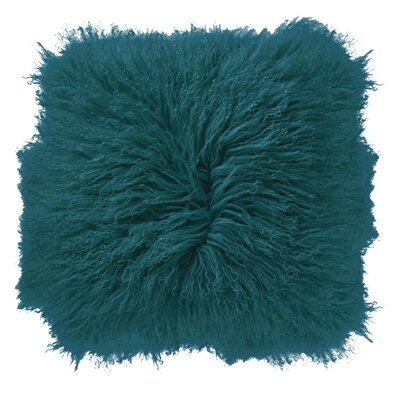 Borealis Lamb Fur Throw Pillow Color: Teal