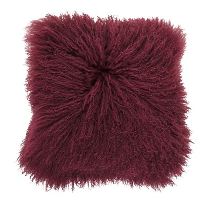 Borealis Lamb Fur Throw Pillow Color: Red