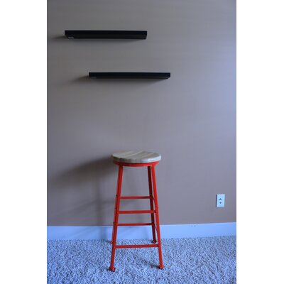 High Angle Steel Wood Seat 30 Bar Stool Finish: Red