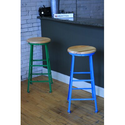 High Angle Steel Wood Seat 30 Bar Stool Finish: Blue