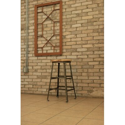 High Angle Steel Wood Seat 30 Bar Stool Finish: Raw Steel