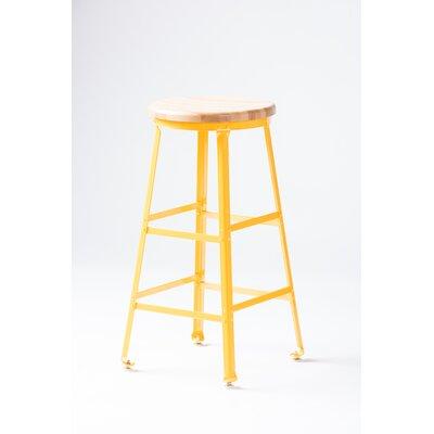 High Angle Steel Wood Seat 30 Bar Stool Finish: Yellow