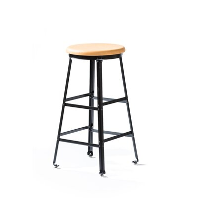 High Angle Steel Wood Seat 30 Bar Stool Finish: Black