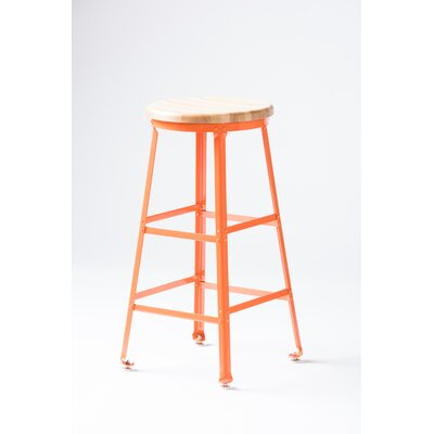 High Angle Steel Wood Seat 30 Bar Stool Finish: Orange