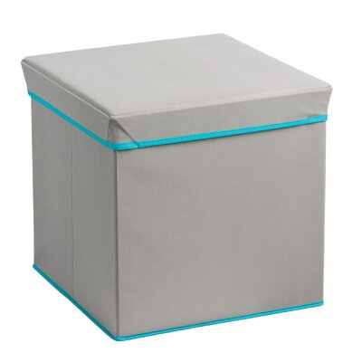 Collapsible Ottoman Upholstery: Heather Gray/Teal Trim