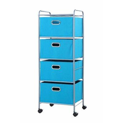 4 Drawer Fabric Cart Color: True Blue