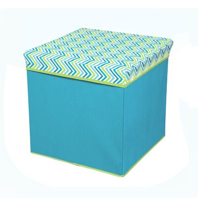 Collapsible Ottoman Upholstery: Cyan Blue/Green