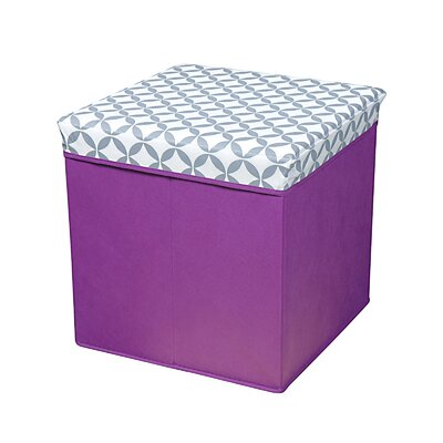 Collapsible Ottoman Upholstery: Gray/White/Purple Base