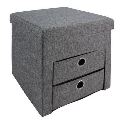 Folding Storage Ottoman Upholstery: Gray