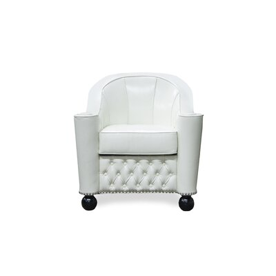Grace Barrel Chair Upholstery/Nailhead Detail: Ivory / Chrome Nails
