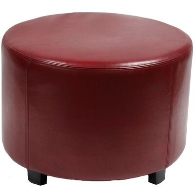Hendrik 22 Round Ottoman Upholstery: Red Leather