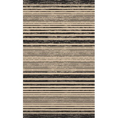 Plymouth Black/Tan Indoor/Outdoor Area Rug Rug Size: 67 x 92