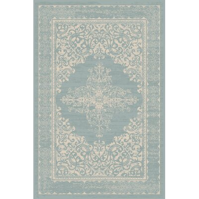 Plymouth Teal/Beige Indoor/Outdoor Area Rug Rug Size: 92 x 126
