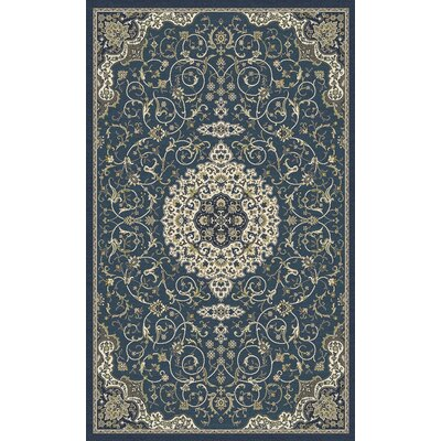 Landy Peacock Blue Area Rug Rug Size: 53 x 77