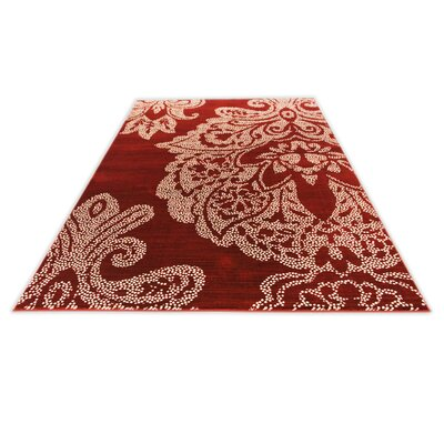 Klahn Red Area Rug Rug Size: OVAL 67 x 96