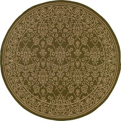 Beaminster Green/Beige Indoor/Outdoor Area Rug Rug Size: ROUND 710