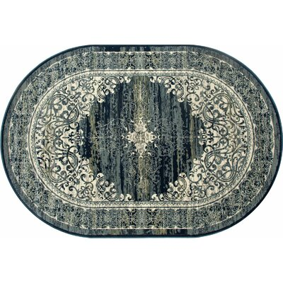 Channel Teal Blue Area Rug Rug Size: OVAL 67 x 96