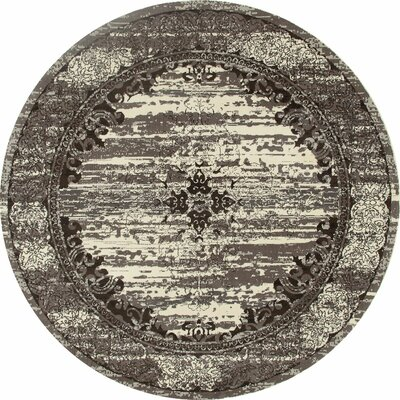 Channel Cream/Brown Area Rug Rug Size: ROUND 53