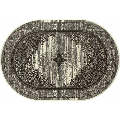Channel Cream/Brown Area Rug Rug Size: OVAL 67 x 96