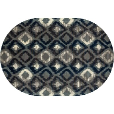Hershberger Gray Area Rug Rug Size: OVAL 67 x 96