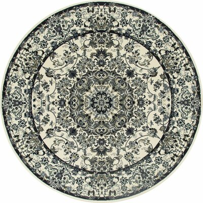 Channel Cream/Aqua Area Rug Rug Size: ROUND 53