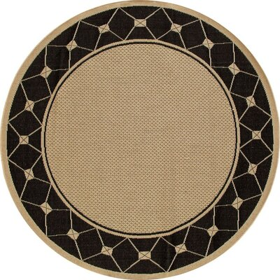 Beaminster Black/Beige Indoor/Outdoor Area Rug Rug Size: ROUND 67