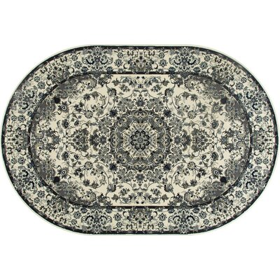 Channel Cream/Aqua Area Rug Rug Size: OVAL 67 x 96