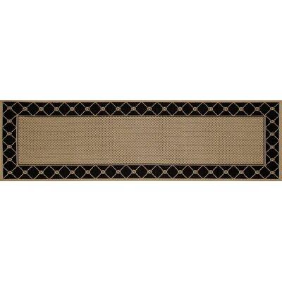 Beaminster Black/Beige Indoor/Outdoor Area Rug Rug Size: Runner 27 x 9