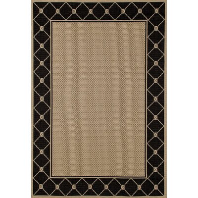 Beaminster Black/Beige Indoor/Outdoor Area Rug Rug Size: 92 x 126